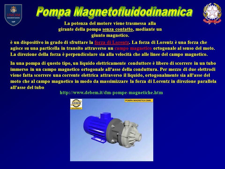 http://www.debem.it/dm-pompe-magnetiche.htm La potenza del motore viene trasmessa alla girante della pompa senza contatto, mediante un giunto magnetic