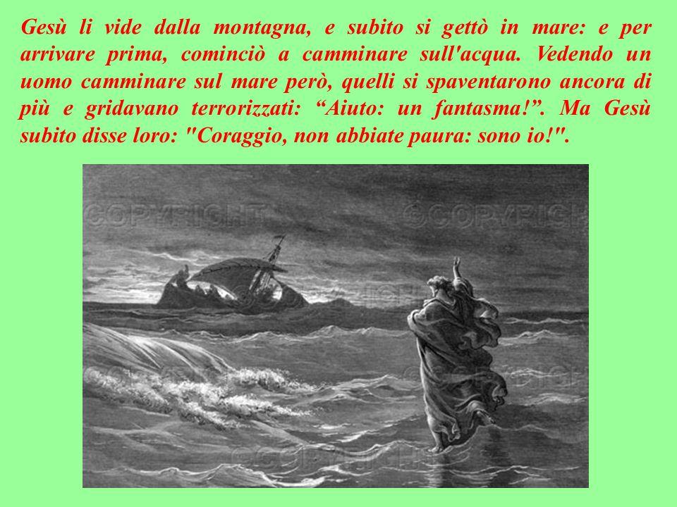 Ma a notte inoltrata, quando la barca con i discepoli era in mare aperto, scoppiò una terribile tempesta: il vento era contrario, e quelli - vedendosi