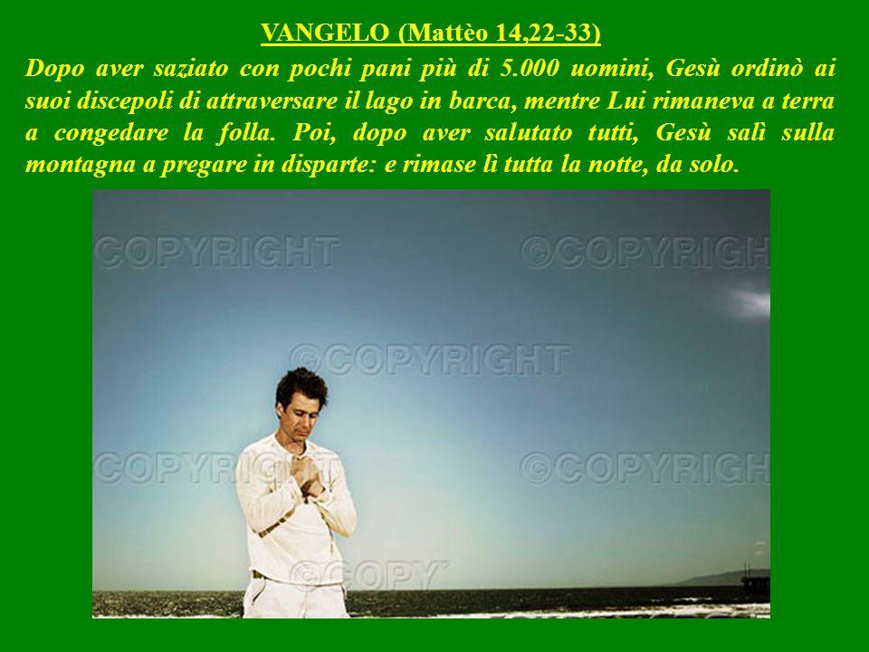 Dopo aver saziato con pochi pani più di 5.000 uomini, Gesù ordinò ai suoi discepoli di attraversare il lago in barca, mentre Lui rimaneva a terra a congedare la folla.