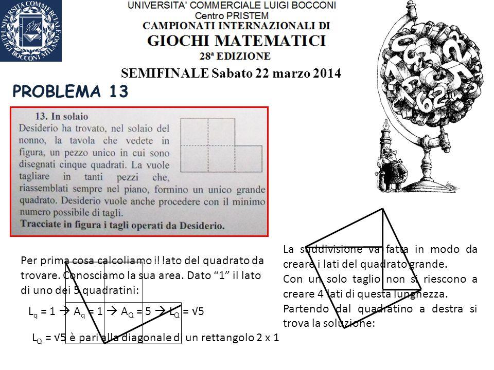 SEMIFINALE Sabato 22 marzo 2014 PROBLEMA 13 Per prima cosa calcoliamo il lato del quadrato da trovare.