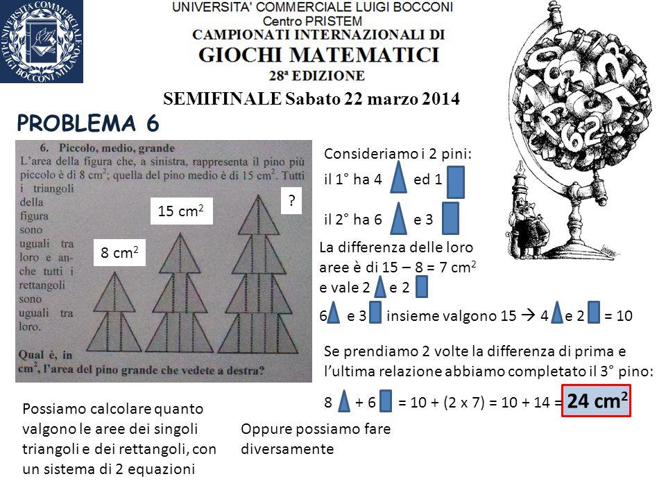 SEMIFINALE Sabato 22 marzo 2014 PROBLEMA 6 8 cm 2 15 cm 2 .