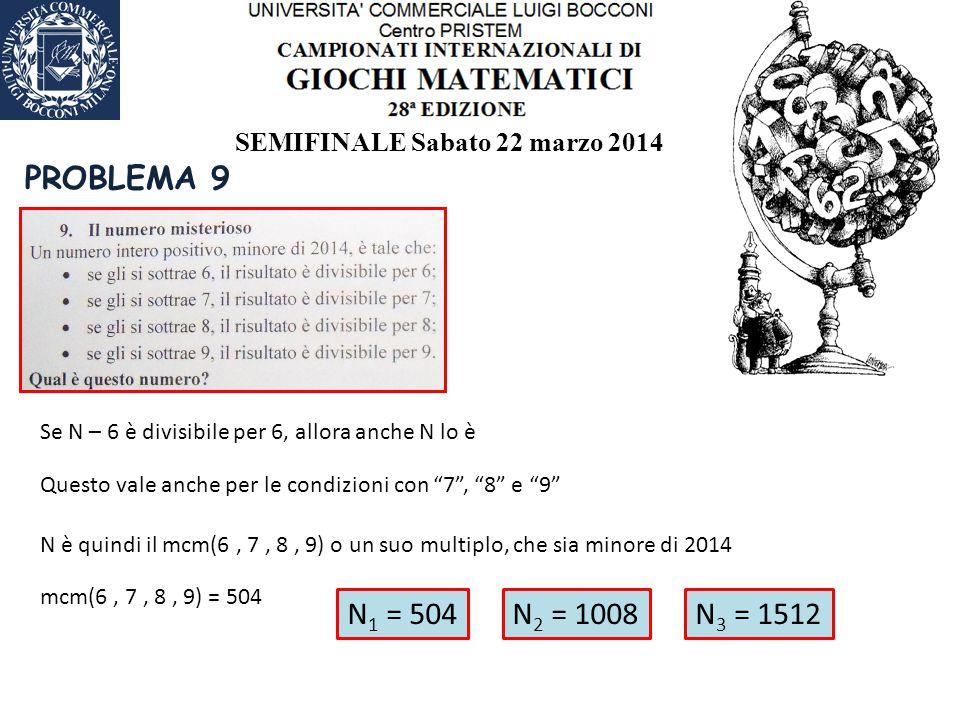 SEMIFINALE Sabato 22 marzo 2014 PROBLEMA 9 Se N – 6 è divisibile per 6, allora anche N lo è Questo vale anche per le condizioni con 7 , 8 e 9 N è quindi il mcm(6, 7, 8, 9) o un suo multiplo, che sia minore di 2014 mcm(6, 7, 8, 9) = 504 N 1 = 504N 2 = 1008N 3 = 1512