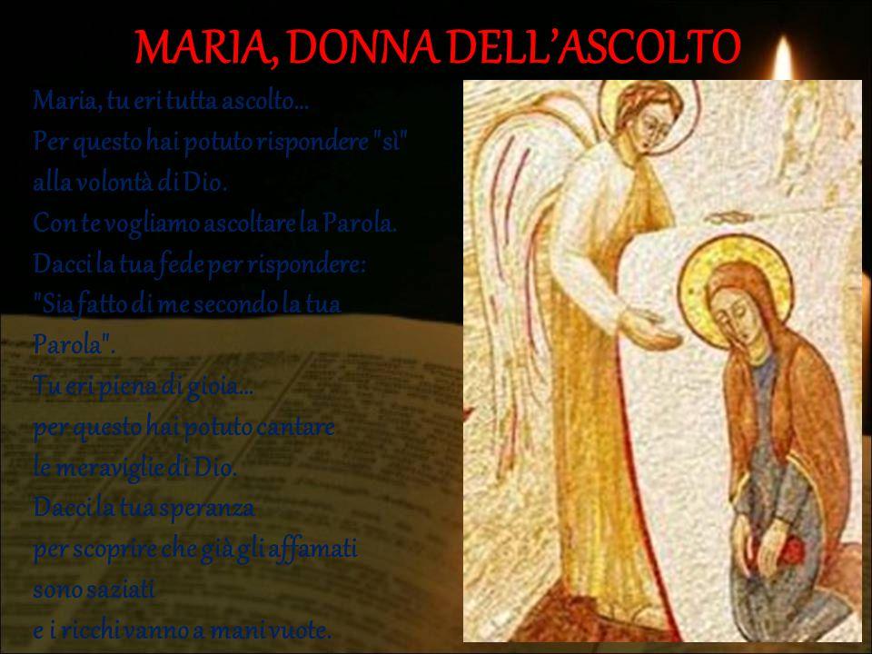 MARIA, DONNA DELL'ASCOLTO Maria, tu eri tutta ascolto… Per questo hai potuto rispondere