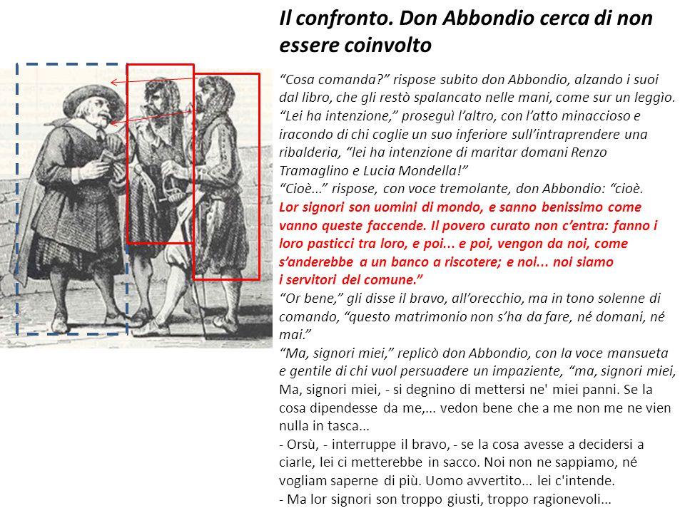 """Il confronto. Don Abbondio cerca di non essere coinvolto """"Cosa comanda?"""" rispose subito don Abbondio, alzando i suoi dal libro, che gli restò spalanca"""