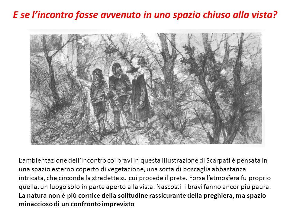 L'ambientazione dell'incontro coi bravi in questa illustrazione di Scarpati è pensata in una spazio esterno coperto di vegetazione, una sorta di bosca