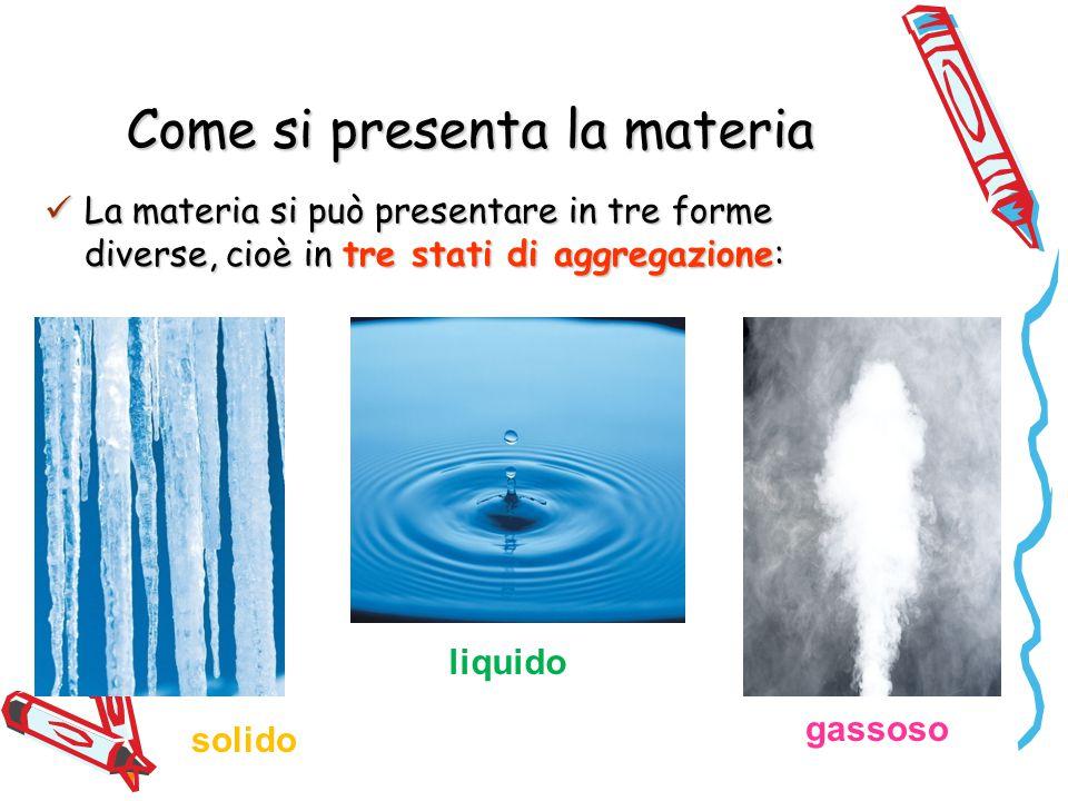 Come si presenta la materia La materia si può presentare in tre forme diverse, cioè in tre stati di aggregazione: La materia si può presentare in tre forme diverse, cioè in tre stati di aggregazione: solido liquido gassoso