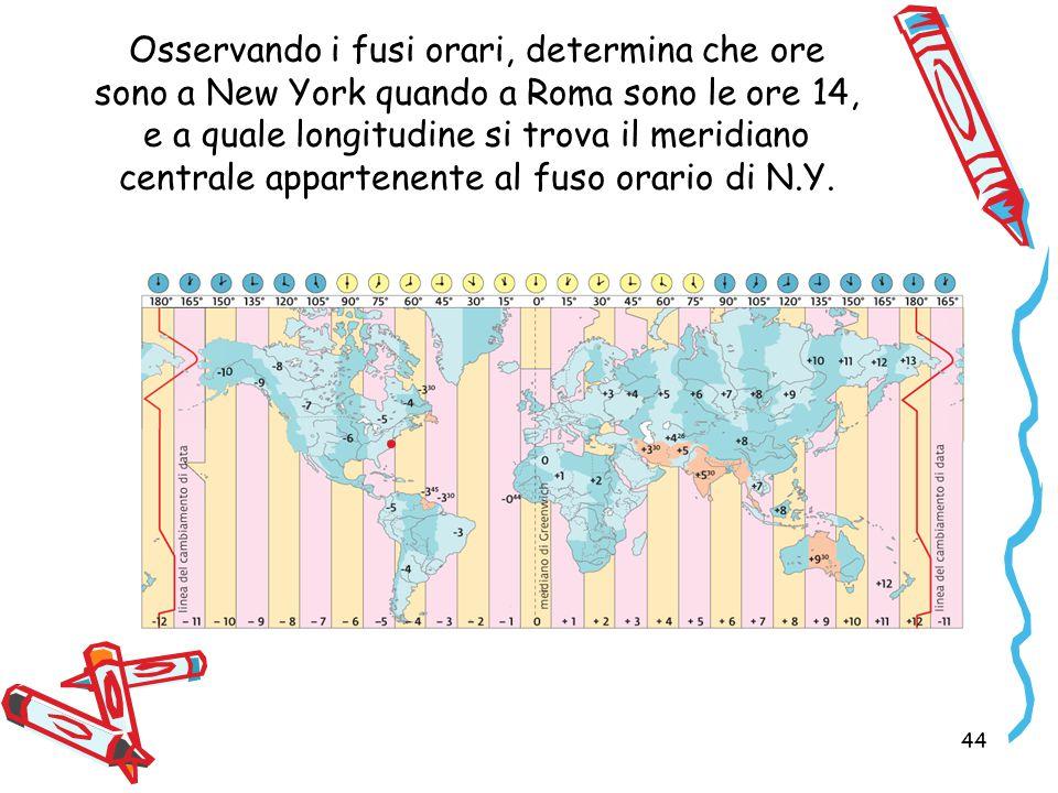 Osservando i fusi orari, determina che ore sono a New York quando a Roma sono le ore 14, e a quale longitudine si trova il meridiano centrale appartenente al fuso orario di N.Y.