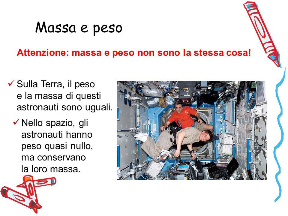 Sulla Terra, il peso e la massa di questi astronauti sono uguali.