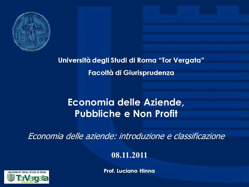 """Economia delle Aziende, Pubbliche e Non Profit Economia delle aziende: introduzione e classificazione Università degli Studi di Roma """"Tor Vergata"""" Fac"""