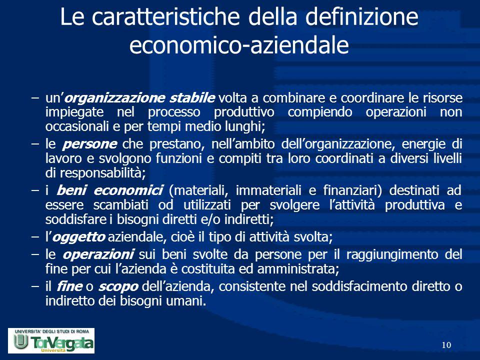 10 Le caratteristiche della definizione economico-aziendale –un'organizzazione stabile volta a combinare e coordinare le risorse impiegate nel process