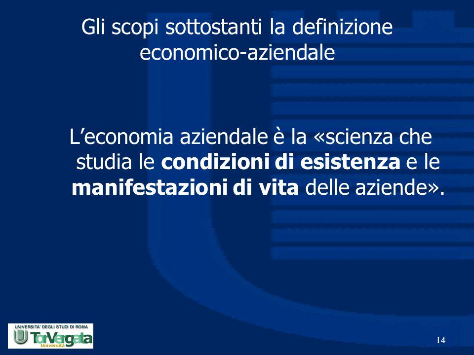 14 Gli scopi sottostanti la definizione economico-aziendale L'economia aziendale è la «scienza che studia le condizioni di esistenza e le manifestazio