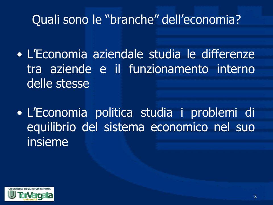 """2 Quali sono le """"branche"""" dell'economia? L'Economia aziendale studia le differenze tra aziende e il funzionamento interno delle stesse L'Economia poli"""