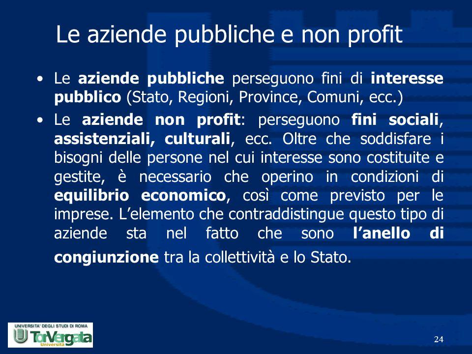24 Le aziende pubbliche e non profit Le aziende pubbliche perseguono fini di interesse pubblico (Stato, Regioni, Province, Comuni, ecc.) Le aziende no