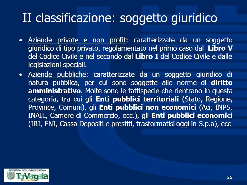 26 II classificazione: soggetto giuridico Aziende private e non profit: caratterizzate da un soggetto giuridico di tipo privato, regolamentato nel pri