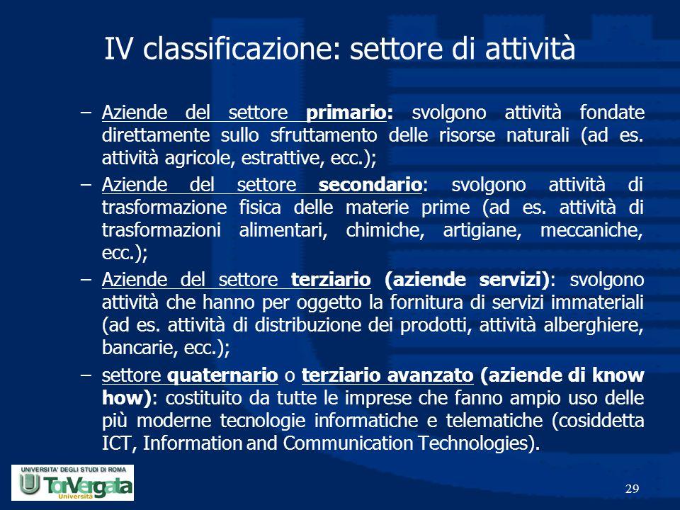29 IV classificazione: settore di attività –Aziende del settore primario: svolgono attività fondate direttamente sullo sfruttamento delle risorse natu