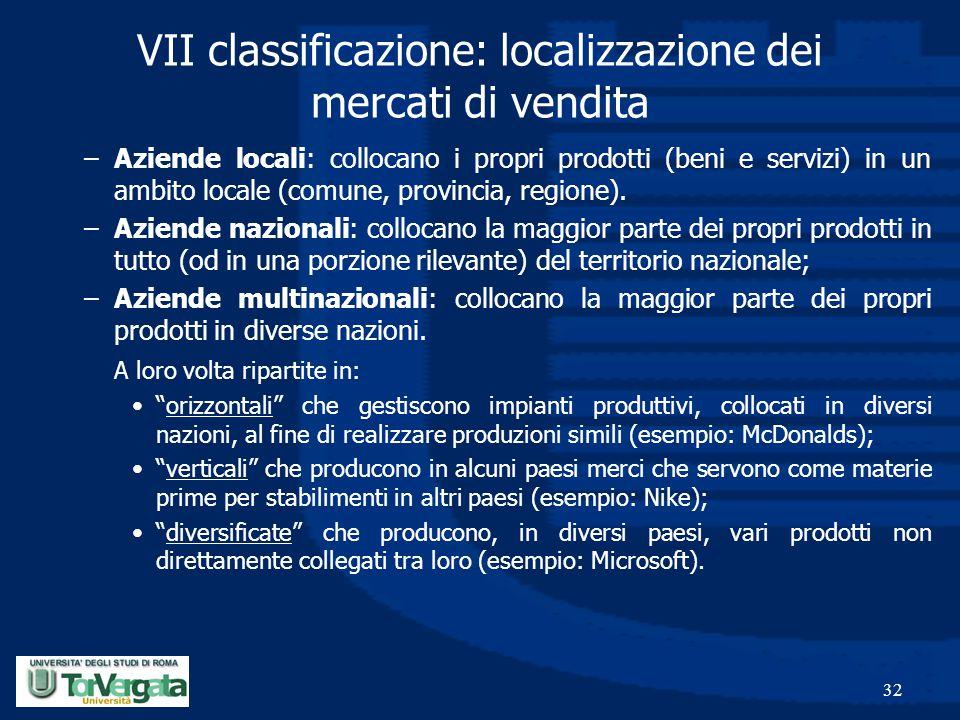 32 VII classificazione: localizzazione dei mercati di vendita –Aziende locali: collocano i propri prodotti (beni e servizi) in un ambito locale (comun