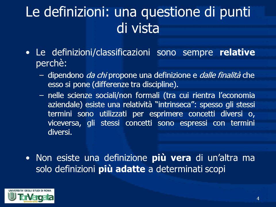 4 Le definizioni: una questione di punti di vista Le definizioni/classificazioni sono sempre relative perchè: –dipendono da chi propone una definizion