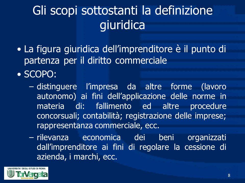 8 Gli scopi sottostanti la definizione giuridica La figura giuridica dell'imprenditore è il punto di partenza per il diritto commerciale SCOPO: –disti