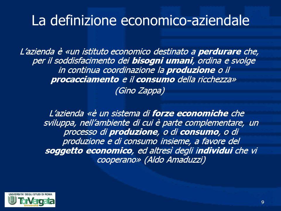 9 La definizione economico-aziendale L'azienda è «un istituto economico destinato a perdurare che, per il soddisfacimento dei bisogni umani, ordina e