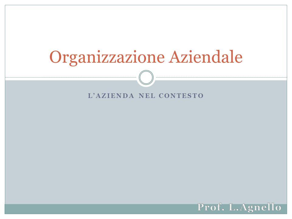 L'AZIENDA NEL CONTESTO Organizzazione Aziendale