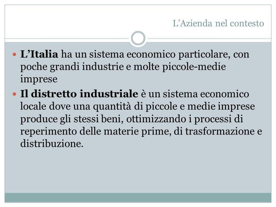 L'Italia ha un sistema economico particolare, con poche grandi industrie e molte piccole-medie imprese Il distretto industriale è un sistema economico locale dove una quantità di piccole e medie imprese produce gli stessi beni, ottimizzando i processi di reperimento delle materie prime, di trasformazione e distribuzione.
