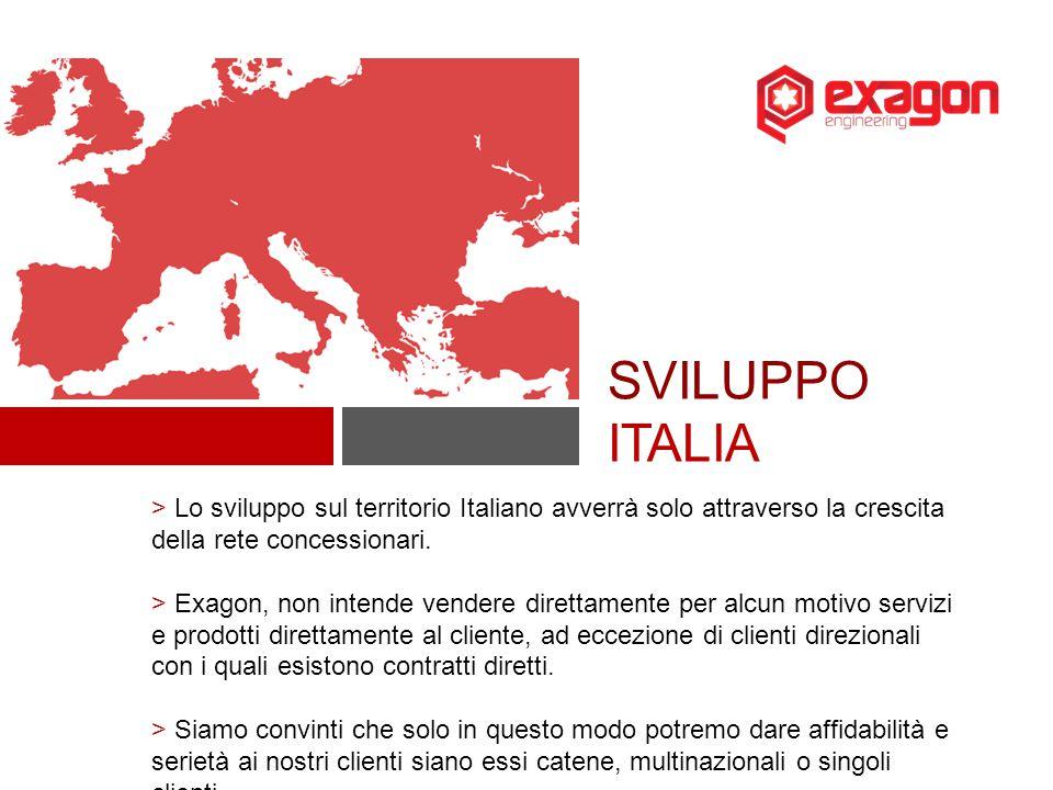 SVILUPPO ITALIA > Lo sviluppo sul territorio Italiano avverrà solo attraverso la crescita della rete concessionari.