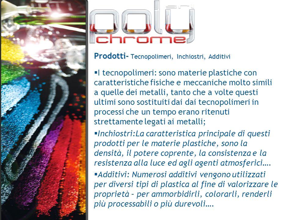 Prodotti- Tecnopolimeri, Inchiostri, Additivi  I tecnopolimeri: sono materie plastiche con caratteristiche fisiche e meccaniche molto simili a quelle