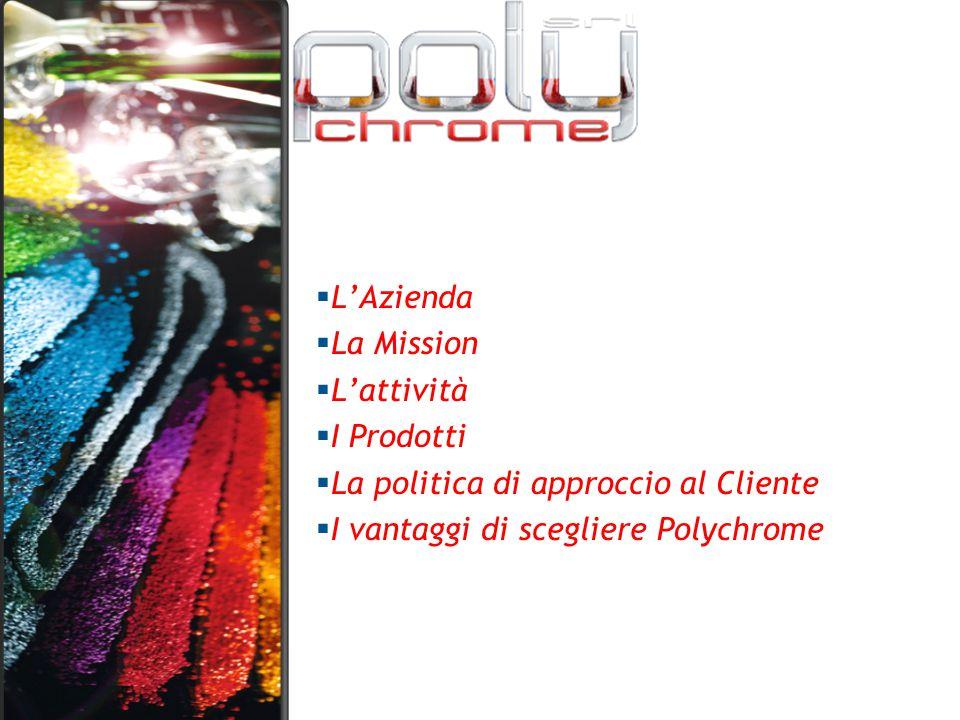  L'Azienda  La Mission  L'attività  I Prodotti  La politica di approccio al Cliente  I vantaggi di scegliere Polychrome