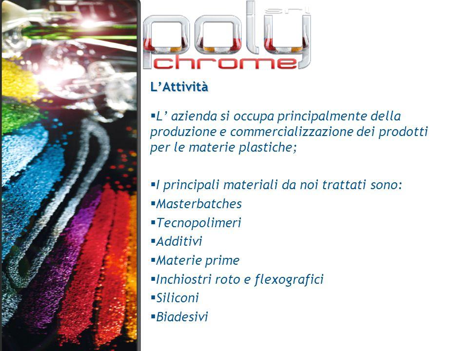 L'Attività  L' azienda si occupa principalmente della produzione e commercializzazione dei prodotti per le materie plastiche;  I principali material
