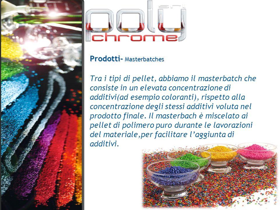 Prodotti- Masterbatches Tra i tipi di pellet, abbiamo il masterbatch che consiste in un elevata concentrazione di additivi(ad esempio coloranti), risp