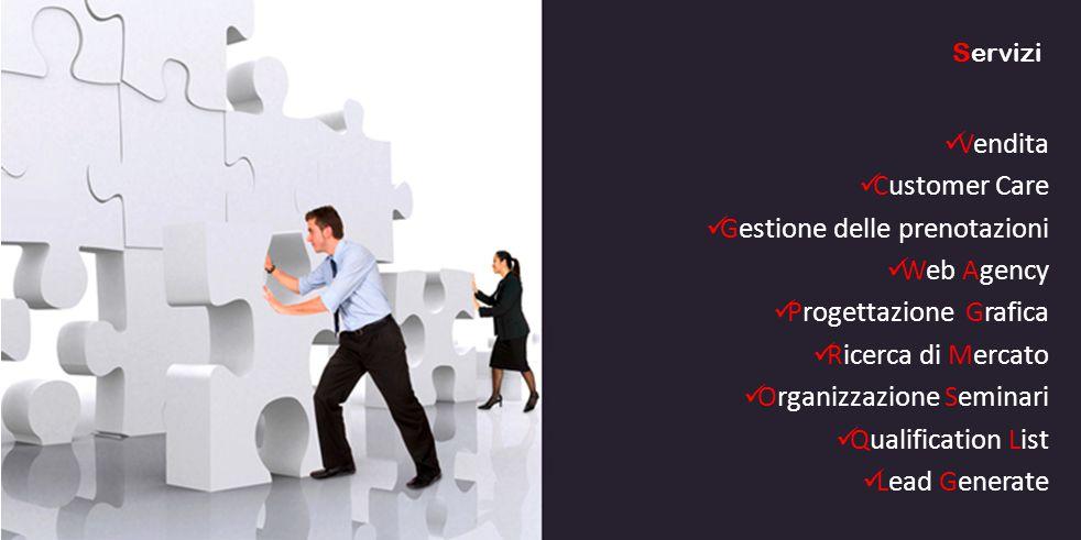 Vendita Customer Care Gestione delle prenotazioni Web Agency Progettazione Grafica Ricerca di Mercato Organizzazione Seminari Qualification List Lead Generate Servizi