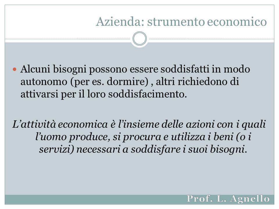 Azienda: strumento economico Alcuni bisogni possono essere soddisfatti in modo autonomo (per es.