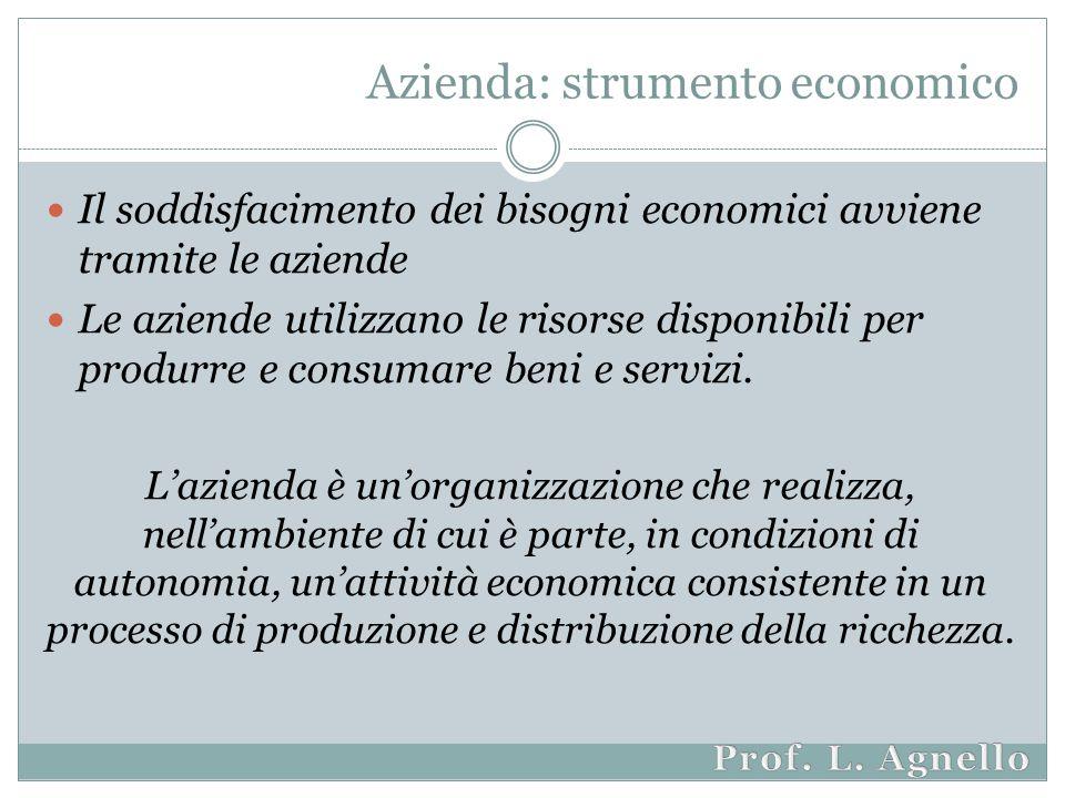 Azienda: strumento economico Il soddisfacimento dei bisogni economici avviene tramite le aziende Le aziende utilizzano le risorse disponibili per produrre e consumare beni e servizi.