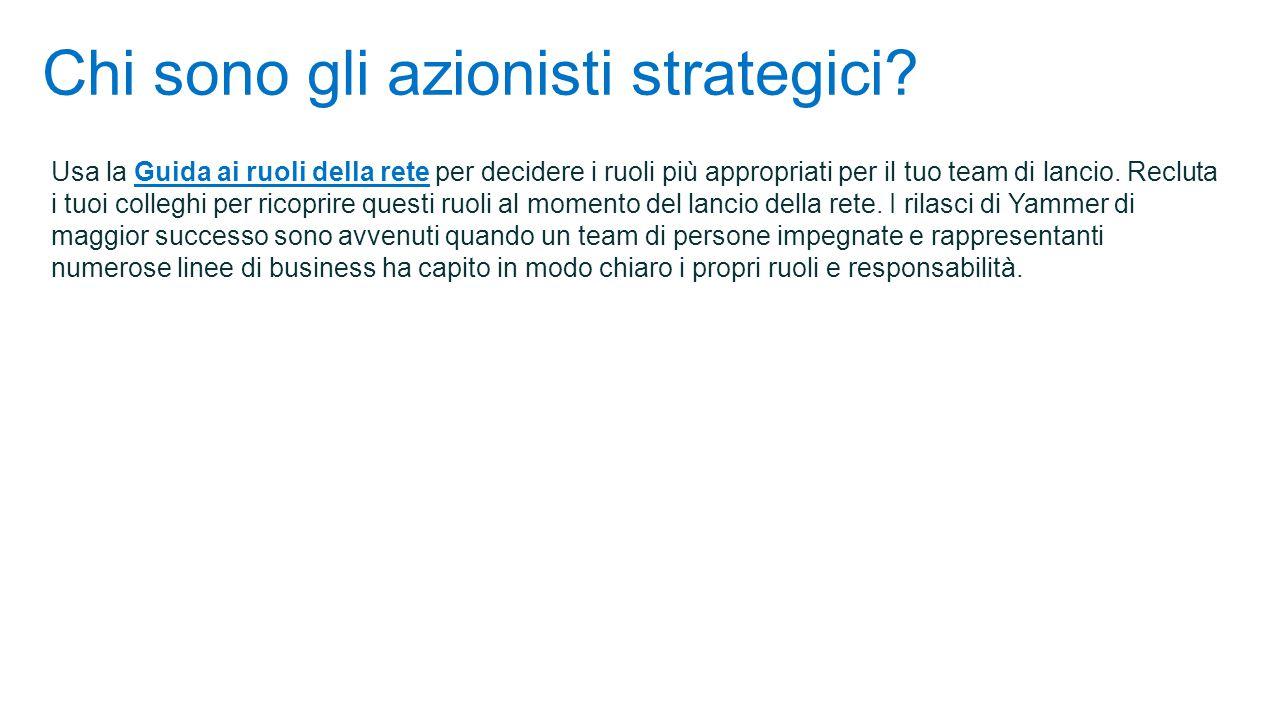 Chi sono gli azionisti strategici? Usa la Guida ai ruoli della rete per decidere i ruoli più appropriati per il tuo team di lancio. Recluta i tuoi col