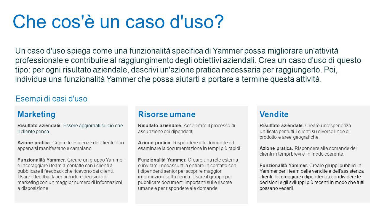 Che cos'è un caso d'uso? Un caso d'uso spiega come una funzionalità specifica di Yammer possa migliorare un'attività professionale e contribuire al ra
