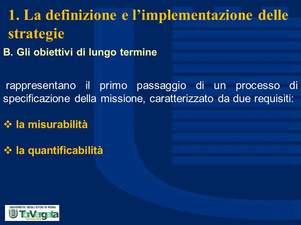1. La definizione e l'implementazione delle strategie B. Gli obiettivi di lungo termine rappresentano il primo passaggio di un processo di specificazi
