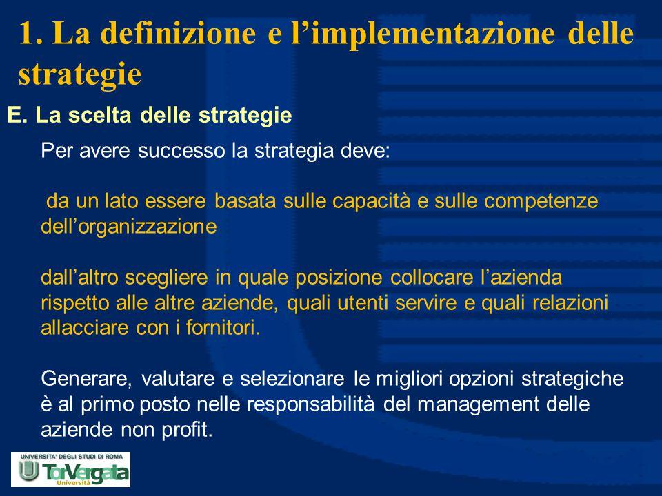 1. La definizione e l'implementazione delle strategie E. La scelta delle strategie Per avere successo la strategia deve: da un lato essere basata sull