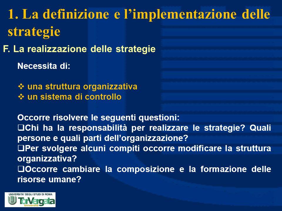 1. La definizione e l'implementazione delle strategie F. La realizzazione delle strategie Necessita di:  una struttura organizzativa  un sistema di