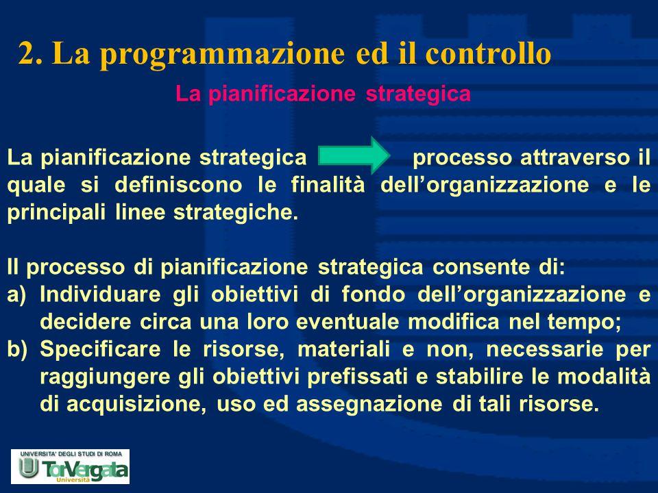 2. La programmazione ed il controllo La pianificazione strategica processo attraverso il quale si definiscono le finalità dell'organizzazione e le pri