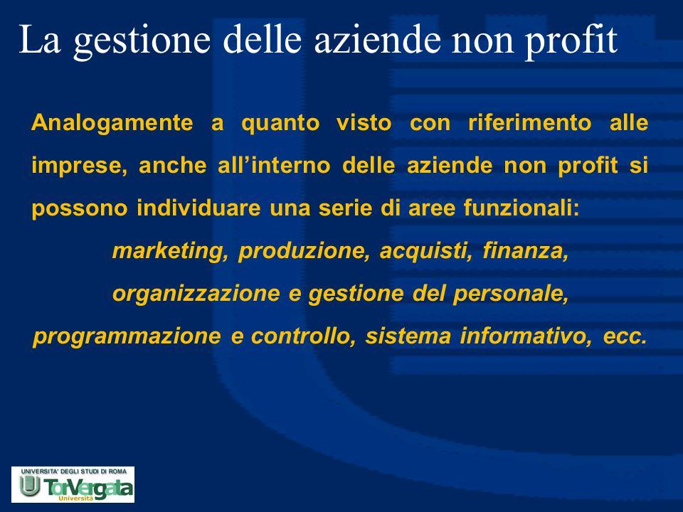 La gestione delle aziende non profit Analogamente a quanto visto con riferimento alle imprese, anche all'interno delle aziende non profit si possono i