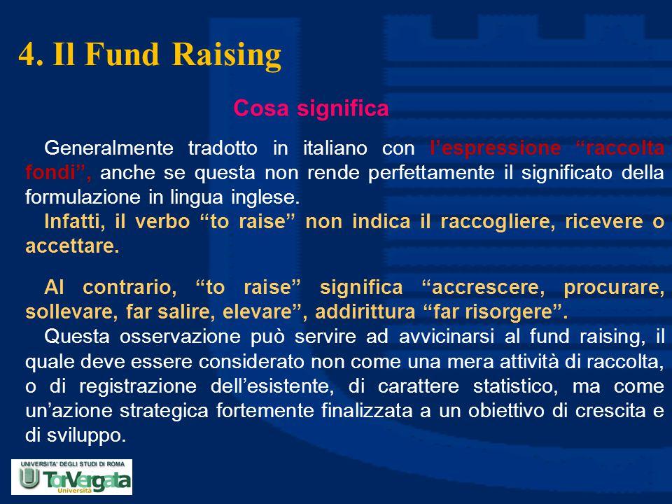 """4. Il Fund Raising Cosa significa Generalmente tradotto in italiano con l'espressione """"raccolta fondi"""", anche se questa non rende perfettamente il sig"""