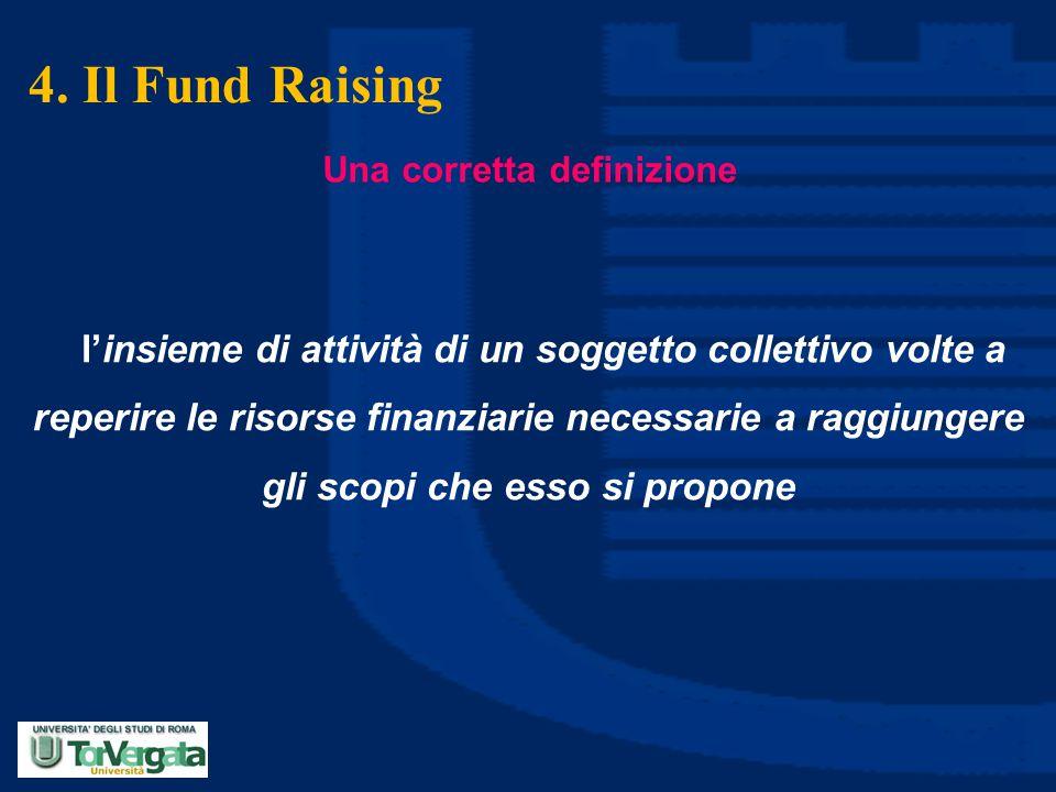 4. Il Fund Raising Una corretta definizione l'insieme di attività di un soggetto collettivo volte a reperire le risorse finanziarie necessarie a raggi