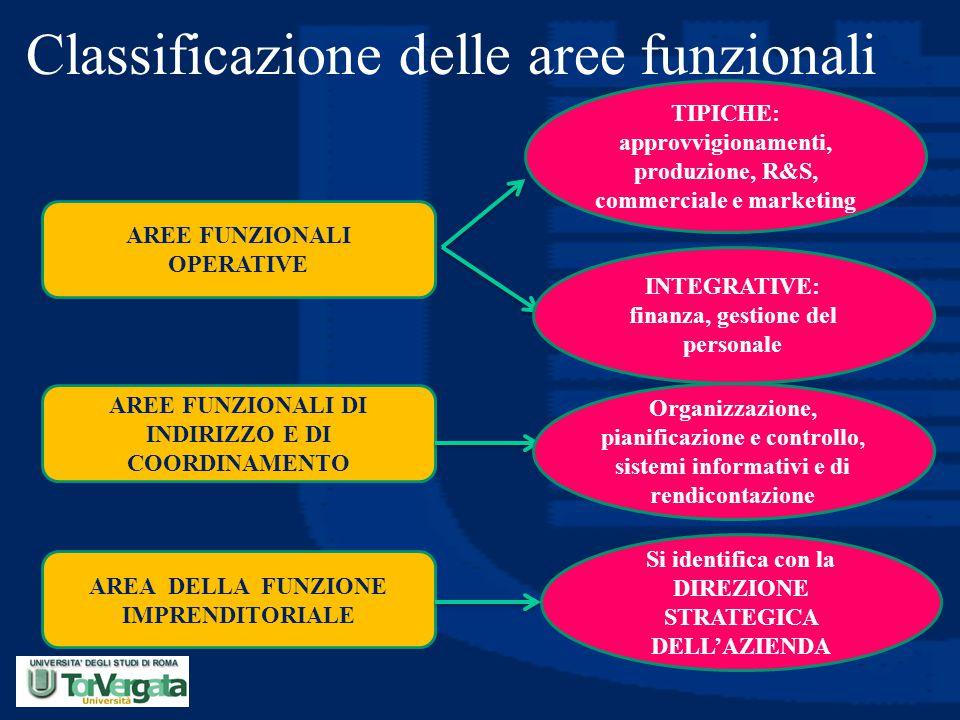 Classificazione delle aree funzionali AREE FUNZIONALI OPERATIVE AREE FUNZIONALI DI INDIRIZZO E DI COORDINAMENTO AREA DELLA FUNZIONE IMPRENDITORIALE TI