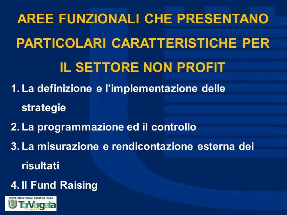 AREE FUNZIONALI CHE PRESENTANO PARTICOLARI CARATTERISTICHE PER IL SETTORE NON PROFIT 1.La definizione e l'implementazione delle strategie 2.La program