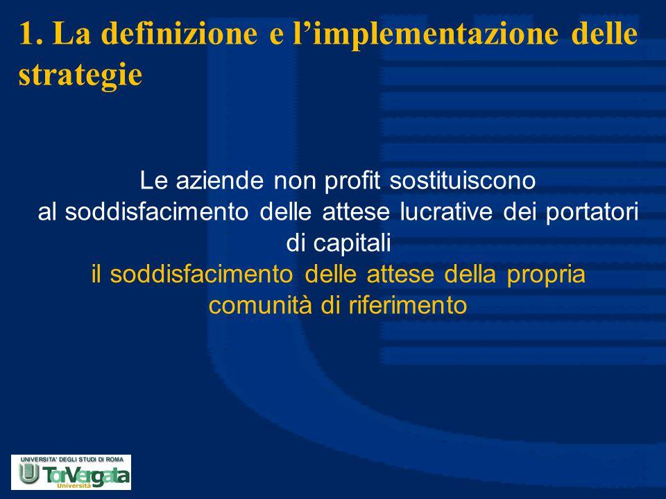 1. La definizione e l'implementazione delle strategie Le aziende non profit sostituiscono al soddisfacimento delle attese lucrative dei portatori di c