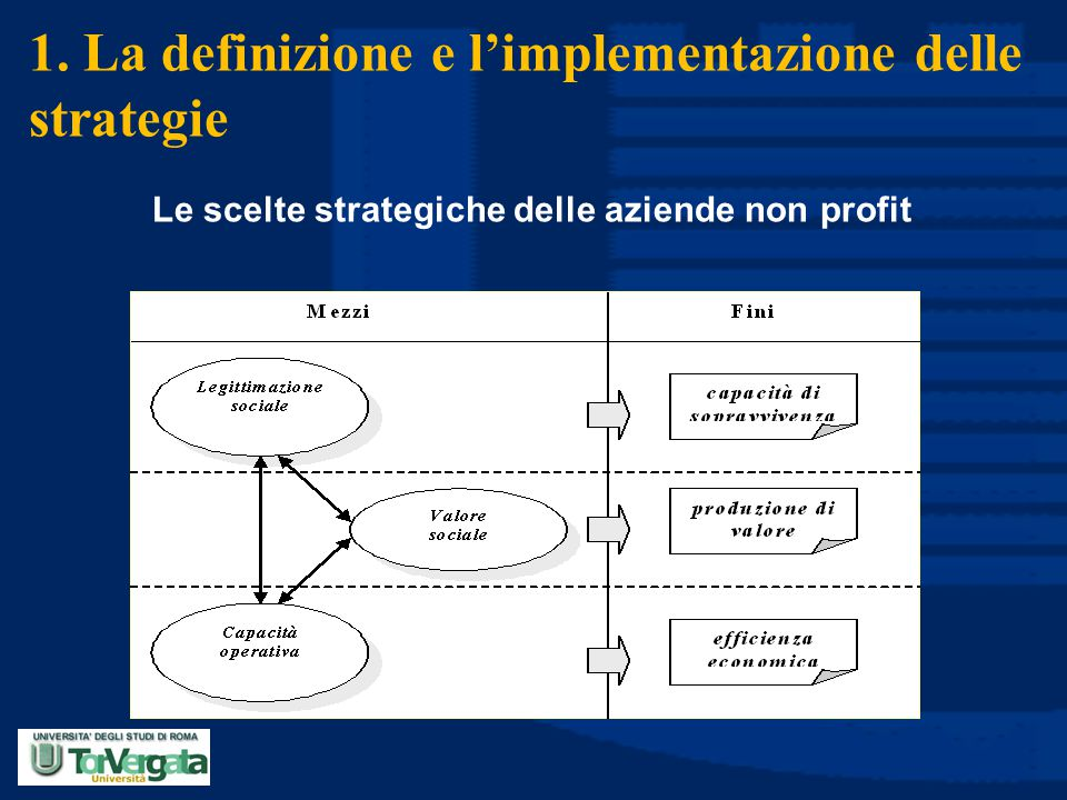 1. La definizione e l'implementazione delle strategie Le scelte strategiche delle aziende non profit
