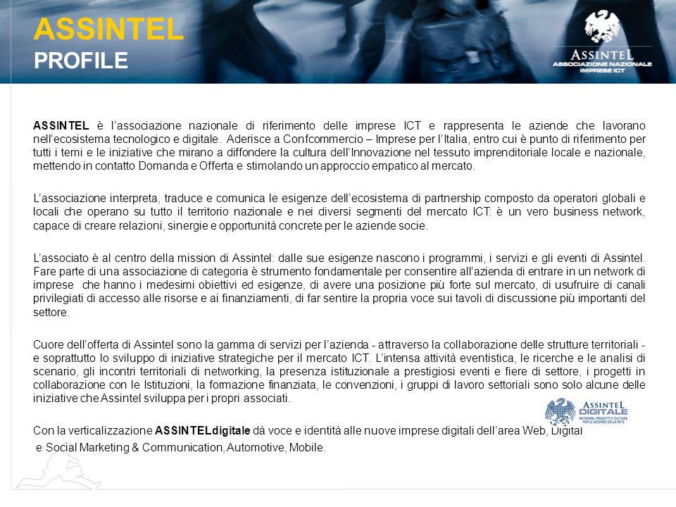ASSINTEL è l'associazione nazionale di riferimento delle imprese ICT e rappresenta le aziende che lavorano nell'ecosistema tecnologico e digitale.