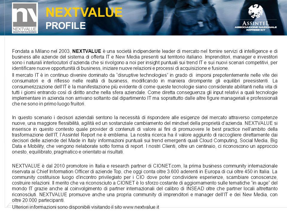 NEXTVALUE PROFILE Fondata a Milano nel 2003, NEXTVALUE è una società indipendente leader di mercato nel fornire servizi di intelligence e di business alle aziende del sistema di offerta IT e New Media presenti sul territorio italiano.