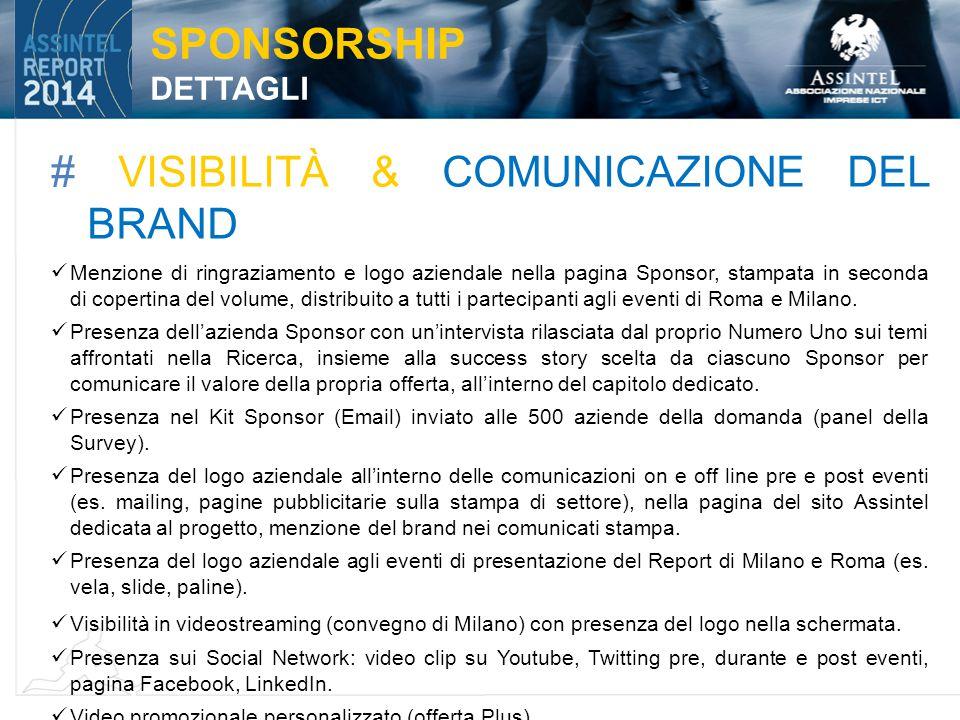 # VISIBILITÀ & COMUNICAZIONE DEL BRAND Menzione di ringraziamento e logo aziendale nella pagina Sponsor, stampata in seconda di copertina del volume, distribuito a tutti i partecipanti agli eventi di Roma e Milano.