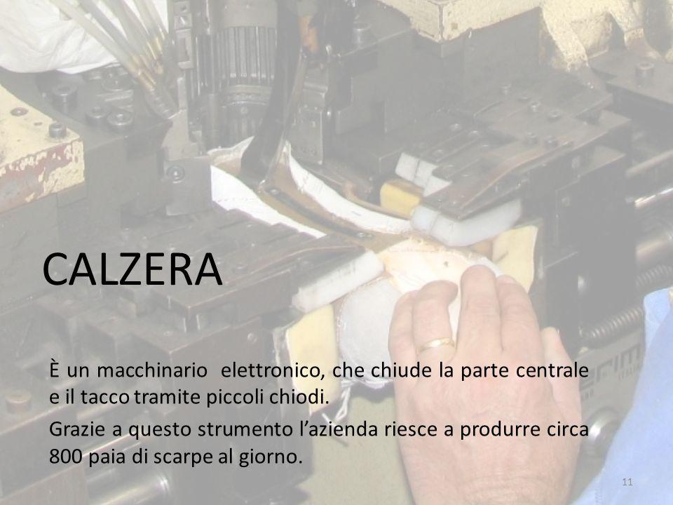 CALZERA È un macchinario elettronico, che chiude la parte centrale e il tacco tramite piccoli chiodi. Grazie a questo strumento l'azienda riesce a pro